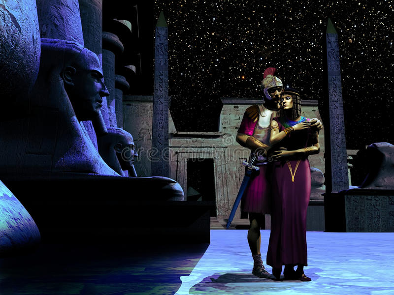 Anthony en Cleopatra royalty-vrije illustratie