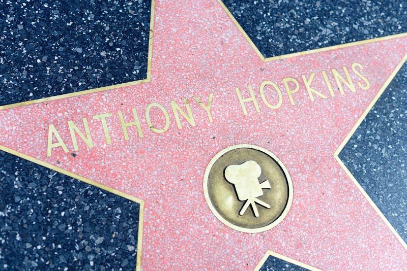 Anthony Hopkins gwiazda na Hollywood spacerze sława obraz royalty free