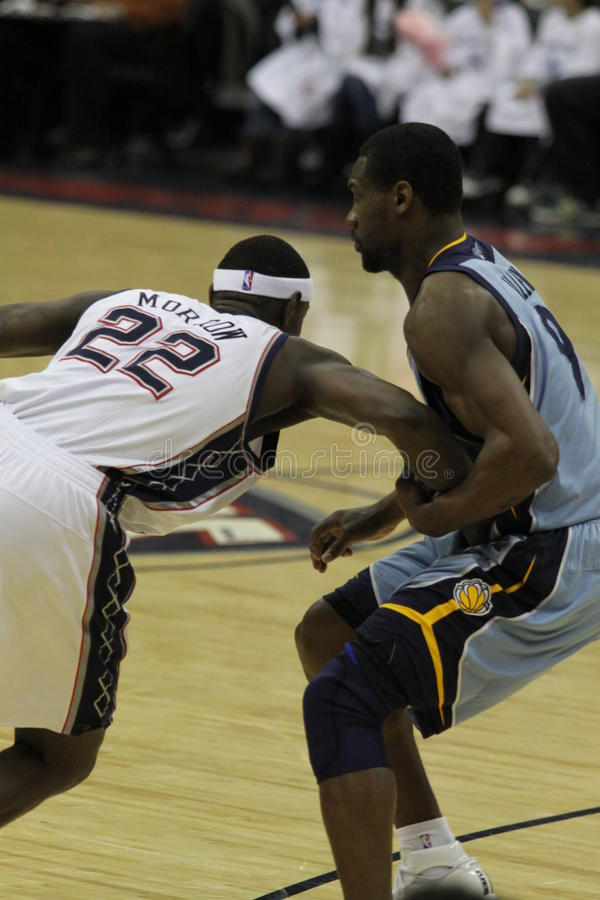 Anthony Morrow & Tony Allen. New Jersey Nets v Memphis Grizzlies, Prudential Center in Newark, 26/01/2011 royalty free stock photo