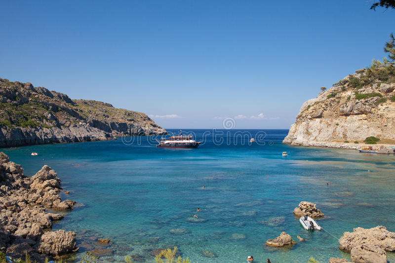 Anthony Quinn Bay and beach, Rhodes in Faliraki. Beautiful beach in Greece. stock images