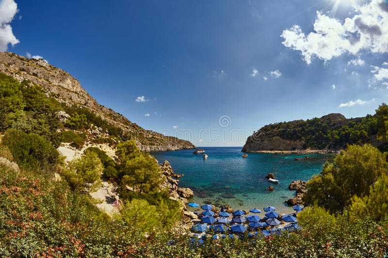 Anthony Quinn Bay on the island of Rhodes. Greece royalty free stock image