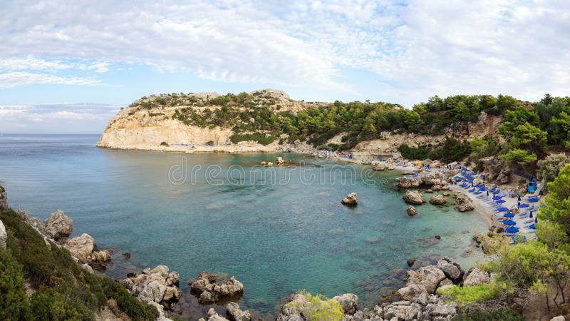 Anthony Quinn Bay o lugar o mais bonito no Rodes, Grécia imagem de stock royalty free