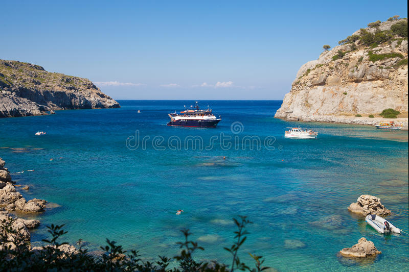 Anthony Quinn Bay, Rhodes in Faliraki. Beautiful beach on the is stock photo