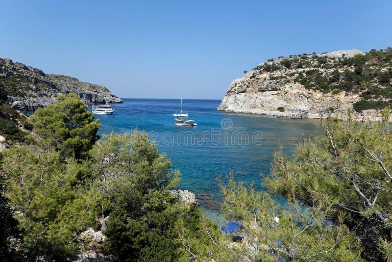 Anthony Quinn fjärd, Rhodes, Grekland royaltyfria foton