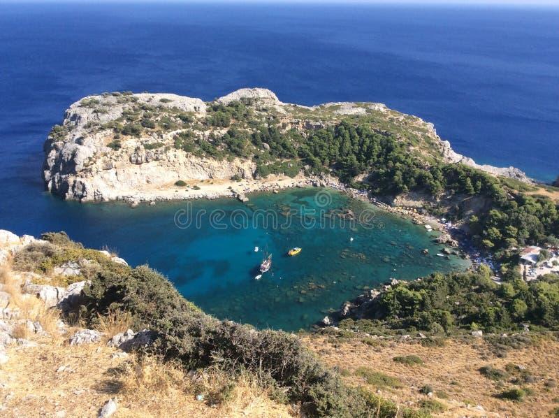 Anthony Quinn-overzeese baai hoogste mening, Rhodos, Griekenland stock foto