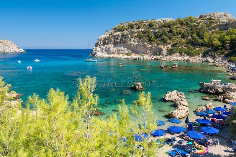 Anthony Quinn zatoka na Rhodes wyspie, Grecja obraz royalty free