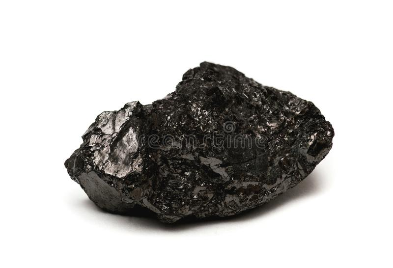Anthracite - hard coal. Anthracite - often referred to as hard coal isolated on white background stock image