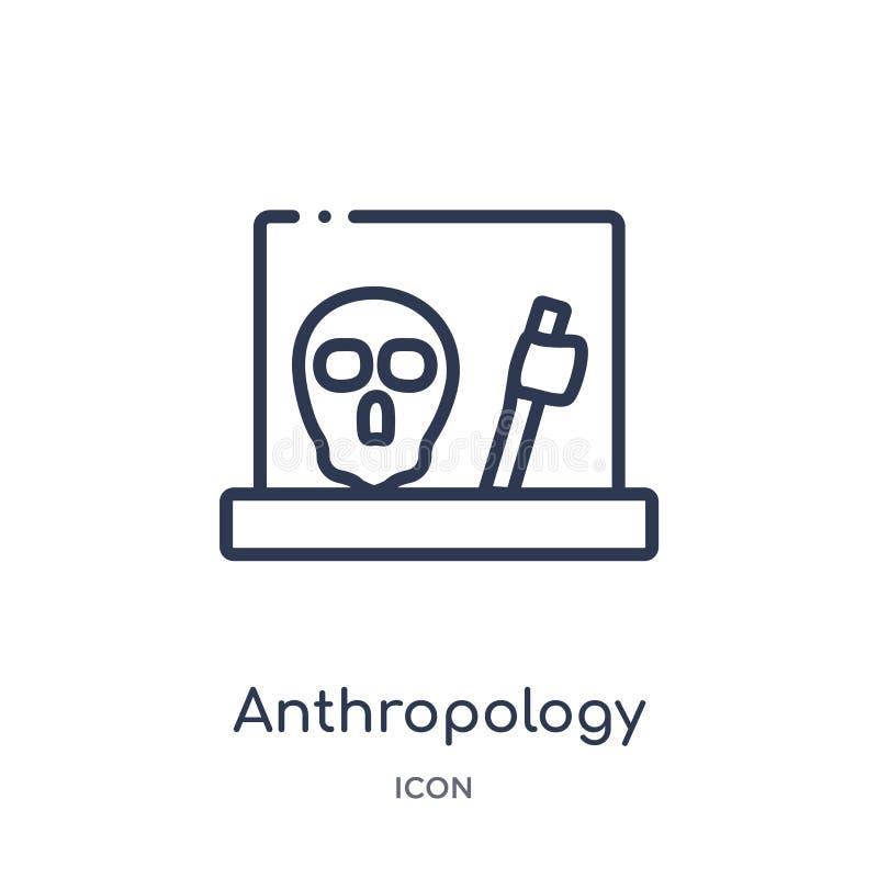 Anthropologieikone von der Museumsentwurfssammlung Dünne Linie Anthropologieikone lokalisiert auf weißem Hintergrund stock abbildung