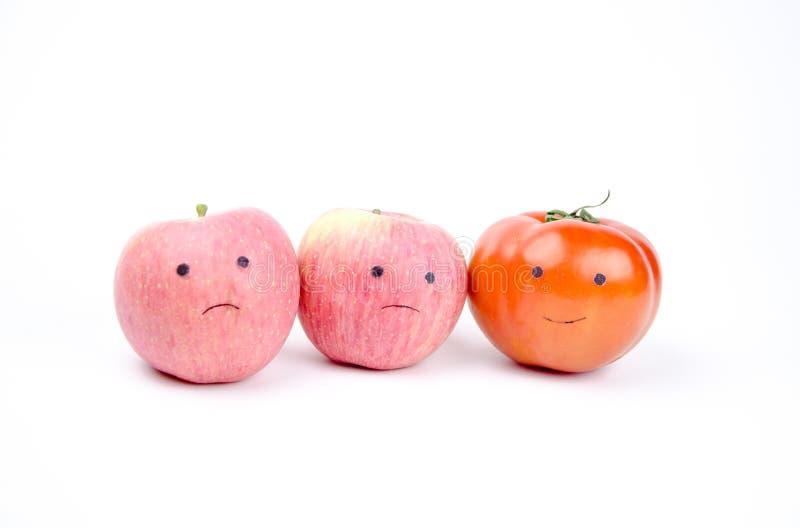 Anthropomorphic grönsaker och frukter arkivbild