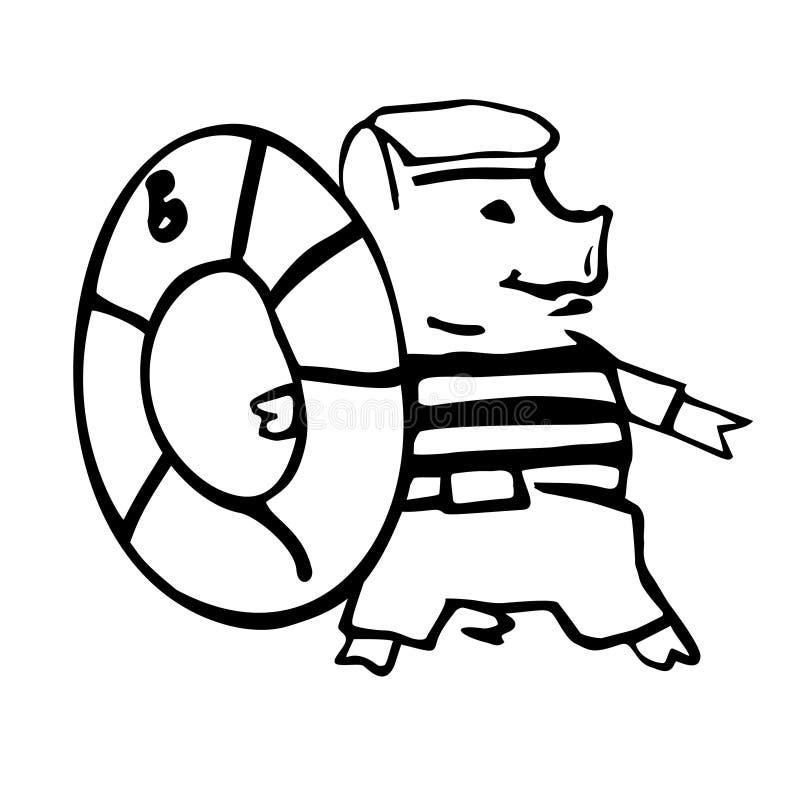 Anthropomorphic shipboy tecknad filmvektorpigglet och livsparare royaltyfri illustrationer