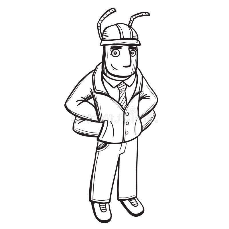 Anthropomorphous humanized мастер построителя муравья Линия искусство эскиза руки вычерченная черно-белая, вектор иллюстрация штока