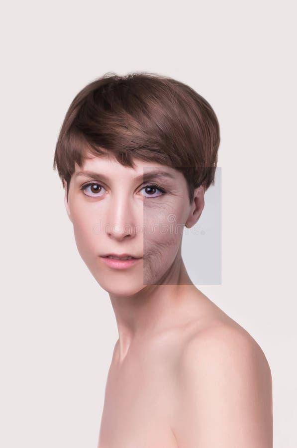Anti--åldras, skönhetbehandling och att åldras och ungdom som lyfter, skincare, plastikkirurgibegrepp royaltyfri bild
