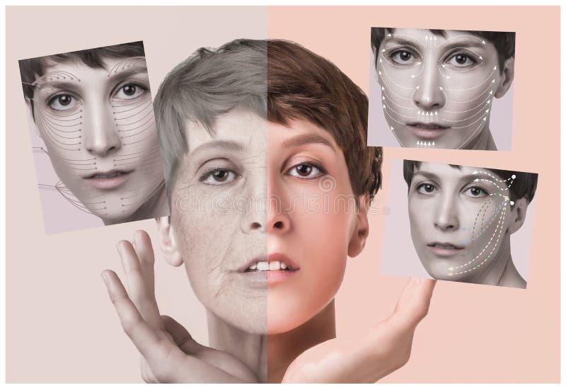 Anti--åldras, skönhetbehandling och att åldras och ungdom som lyfter, skincare, plastikkirurgibegrepp fotografering för bildbyråer