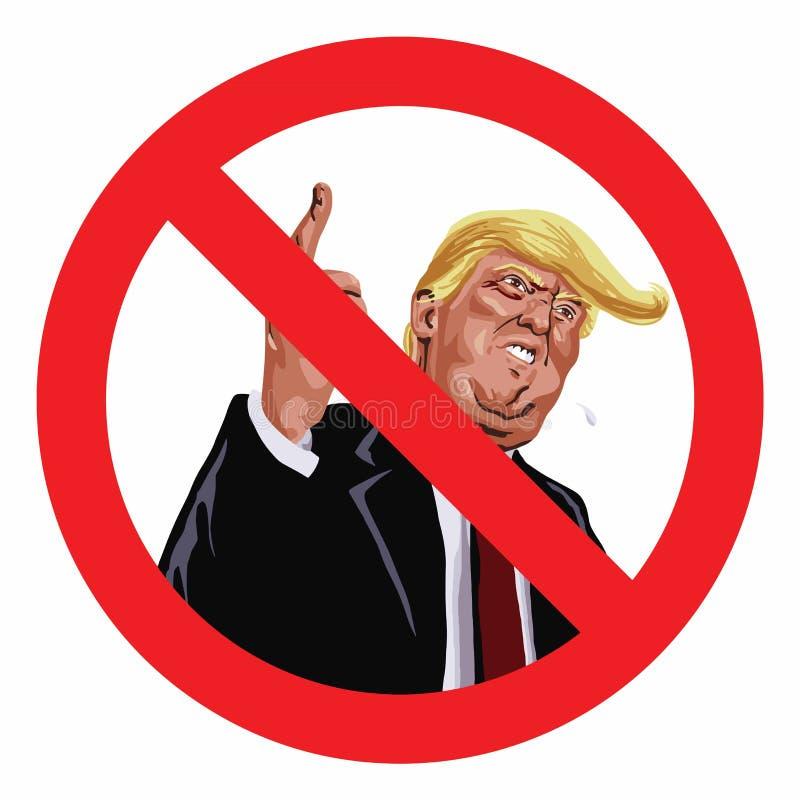 Anti ícone da ilustração do vetor do sinal do trunfo ilustração royalty free