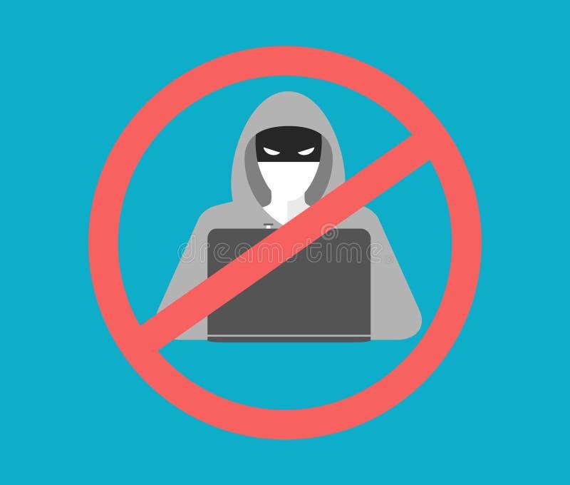 Anti ícone do hacker ilustração do vetor