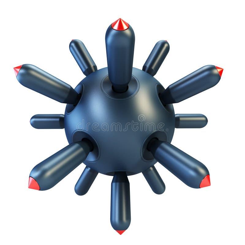 anti подводная лодка перевода бомбы 3d иллюстрация вектора