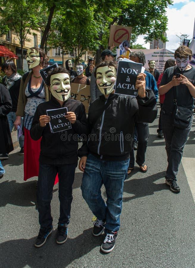 Anti ACTA Internet Counterfeit Accords Law, royalty free stock photo