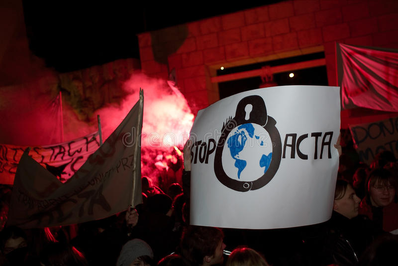 Anti ACTA Poland foto de stock