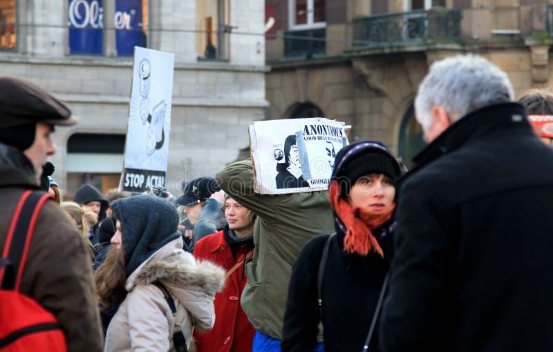 Anti-ACTA Protest in Amsterdam, Holland lizenzfreies stockbild