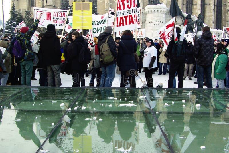 Download Anti ACTA Romania editorial stock photo. Image of cluj - 23314198