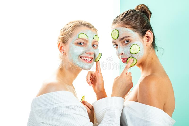 Anti age care. Stay beautiful. Skin care for all ages. Women having fun skin mask. Pure beauty. Beauty product. Spa and stock photography