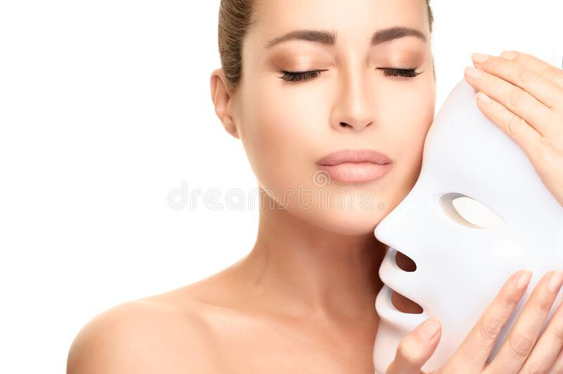 Anti Aging Concept Healthy Skin Woman With Led Mask Skin