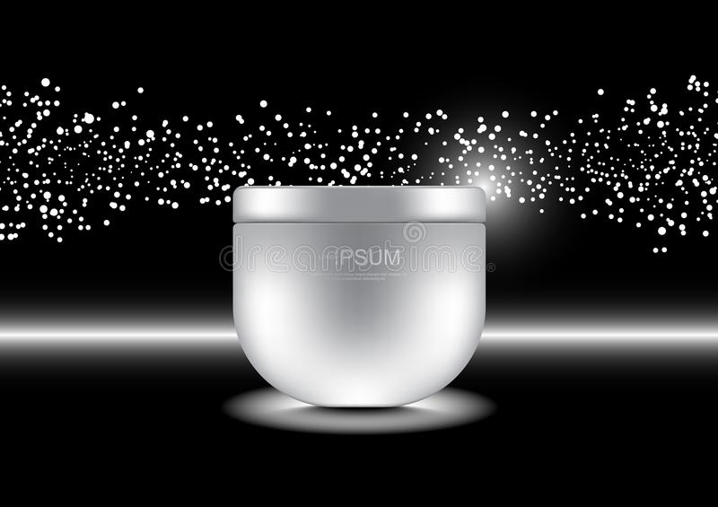 Anti-aging cream with small bubble white lights on dark background vector cosmetic ads template royalty free illustration