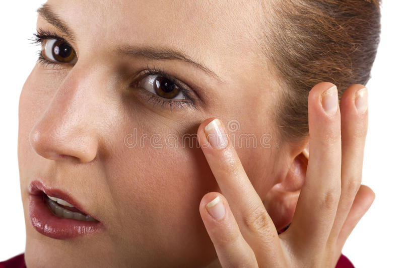 Anti Aging Cream. Woman applying anti aging cream ointments royalty free stock image