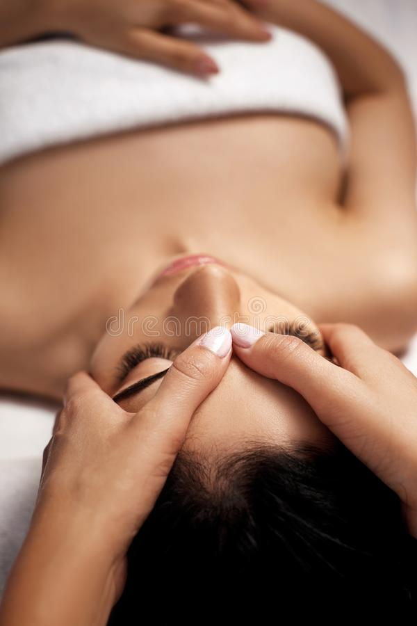 Anti-aging facial massage. royalty free stock photo