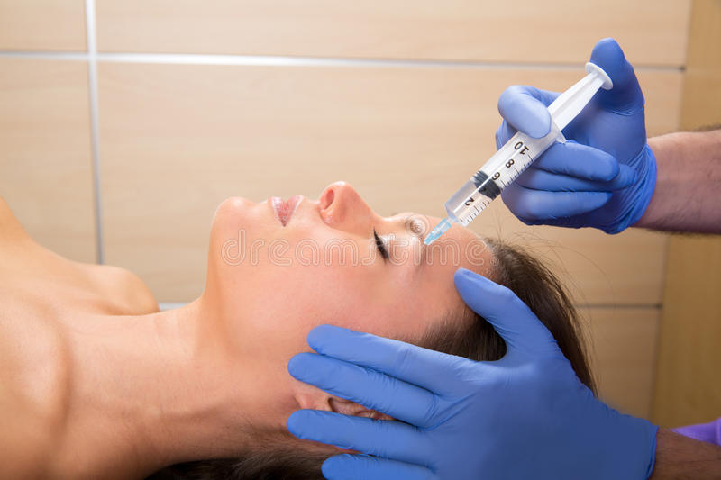 Anti Aging Facial Mesotherapy Syringe On Woman Face Stock Photo