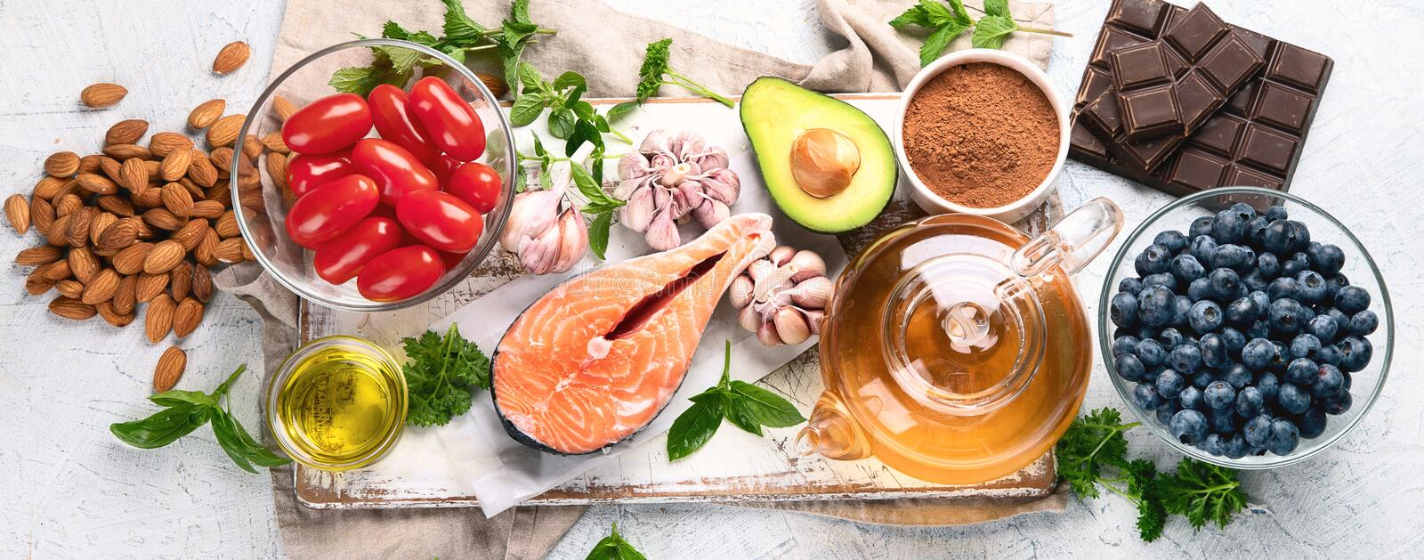 Anti-Aging foods. Foods high in antioxidants royalty free stock photos