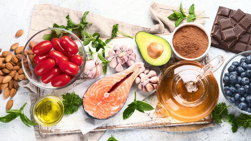 Anti-Aging foods. Foods high in antioxidants stock photo