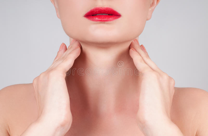 Anti-aging treatment. Beautiful woman neck royalty free stock photo