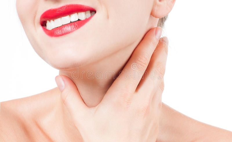 Anti-aging treatment. Beautiful woman neck stock images