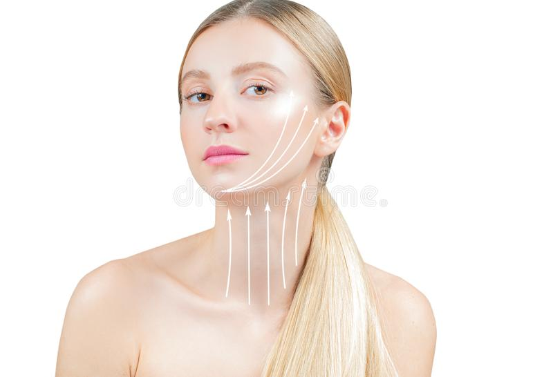 Anti-aging treatment and face lifting. Beautiful woman with perfect skin  with arrows on neck. Anti-aging treatment and face lift. Face lifting, beautiful woman stock photography