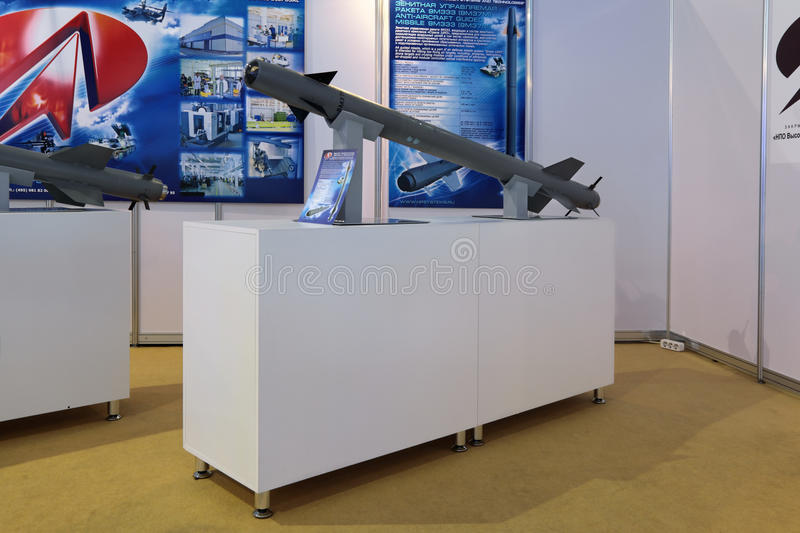 Anti-aircraft guided missile. ZHUKOVSKY, RUSSIA - AUG 29, 2013: Anti-aircraft guided missile 9M333 (9M37M) from structure highly mobile, visually aimed, optical/ royalty free stock images