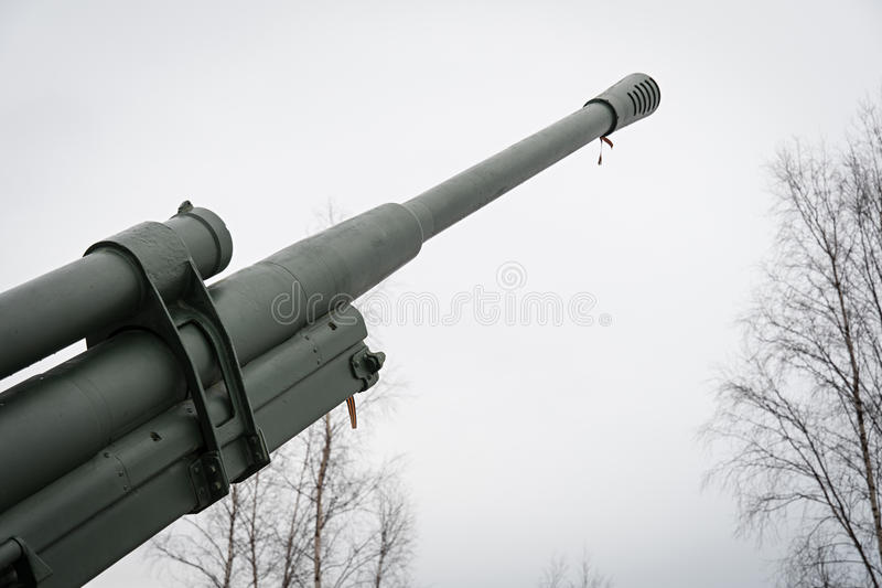 Anti-aircraft gun on the road of life. Military equipment for 40 years. stock photo