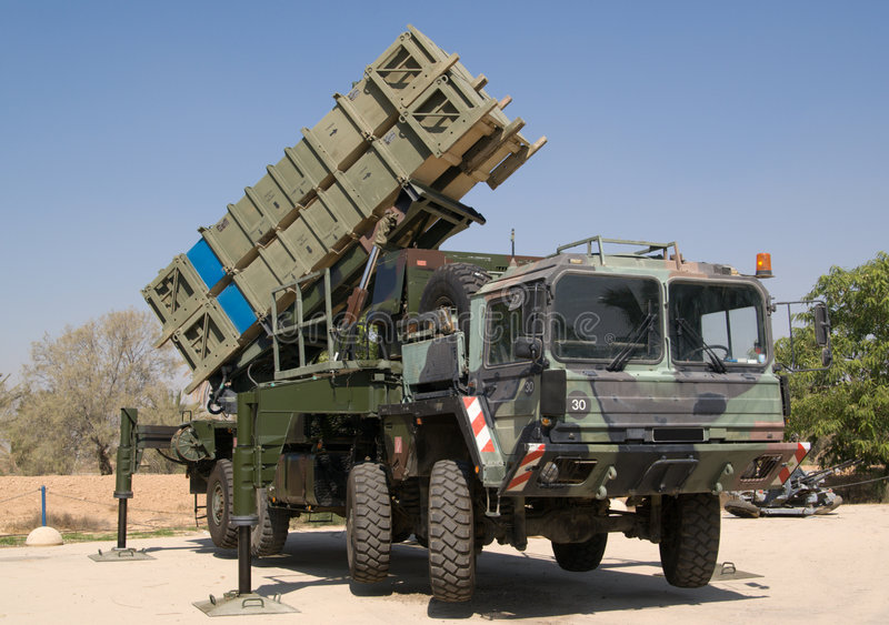 Anti-aircraft missile system on heavy vehicle stock image