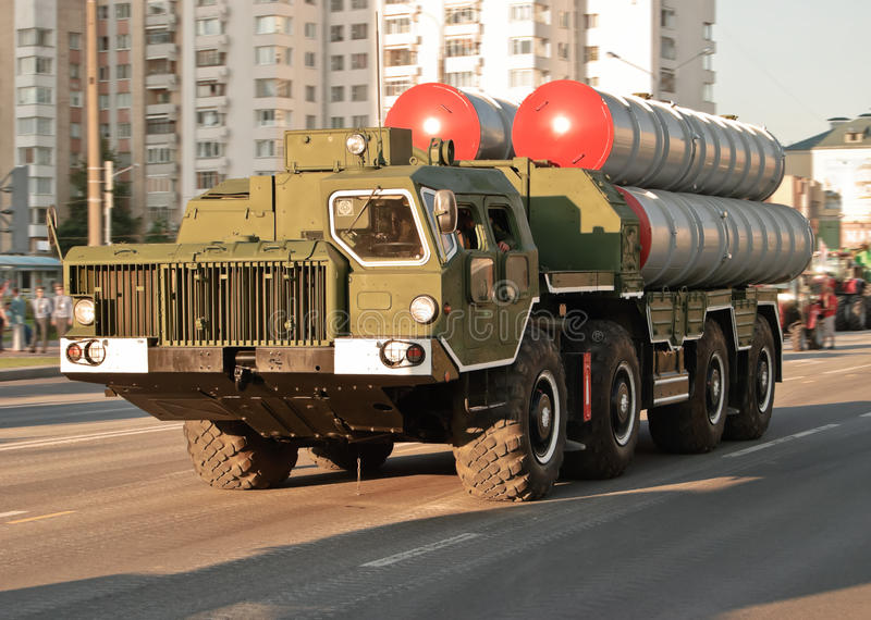 Anti-aircraft missile system of medium-range S-300. Minsk, Belarus - May 9, 2011: Anti-aircraft missile system (SAM), S-300 on the parade devoted to a victory in royalty free stock photography