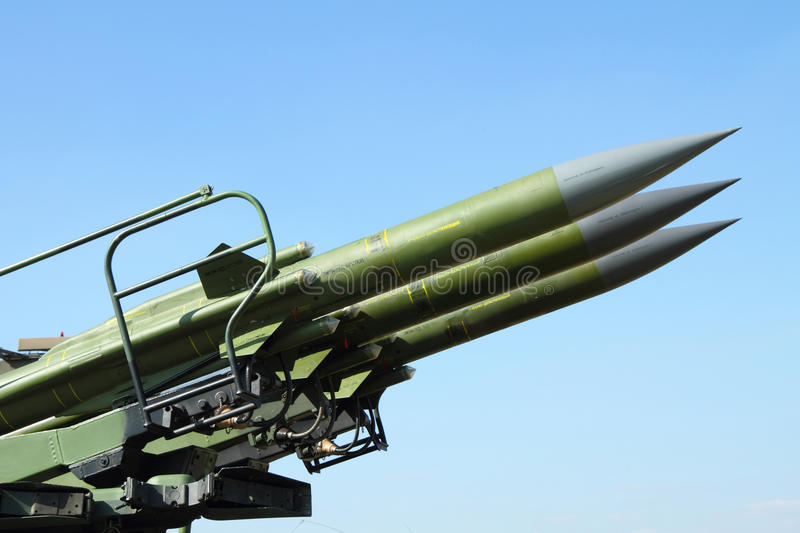 Anti aircraft rockets. Against blue clear sky stock image