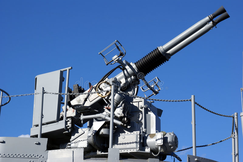 Anti Aircraft Turret Defense Guns On A Navy Ship Stock Images