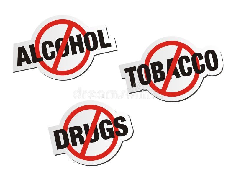 Anti-alkohol, anti-tobak, anti-drogklistermärken undertecknar stock illustrationer
