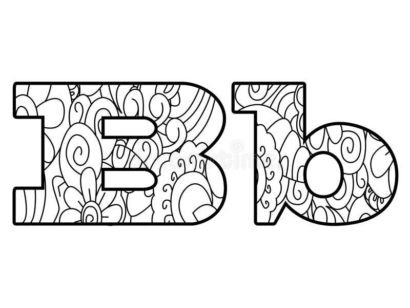Anti alphabet de livre de coloriage, l'illustration de vecteur de la lettre B illustration libre de droits