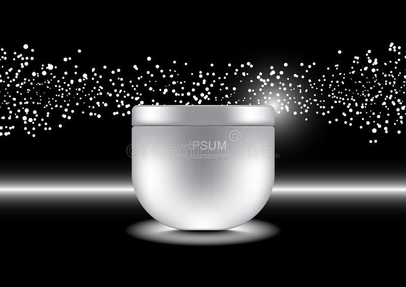 Anti-Alterncreme mit weißen Lichtern der kleinen Blase auf dunklem backgrou lizenzfreie abbildung