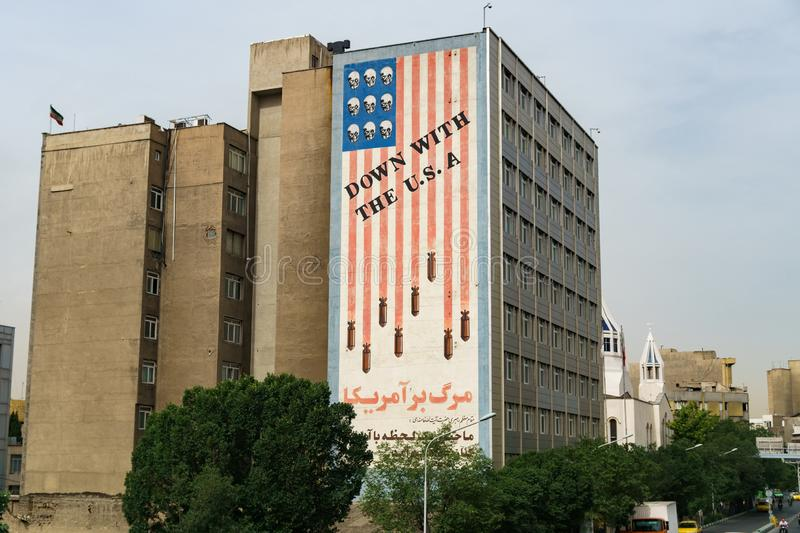 An anti American propaganda wall in Tehran iran 24 May 2017 stock photos
