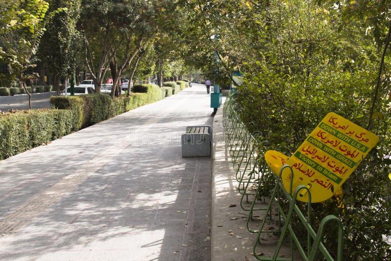 Anti-Amerika-Propaganda in Isfahan, der Iran stockfotos