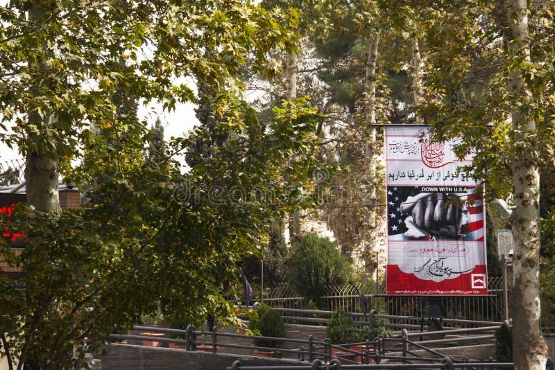 Anti-Amerika-Propaganda in Isfahan, der Iran lizenzfreie stockfotos
