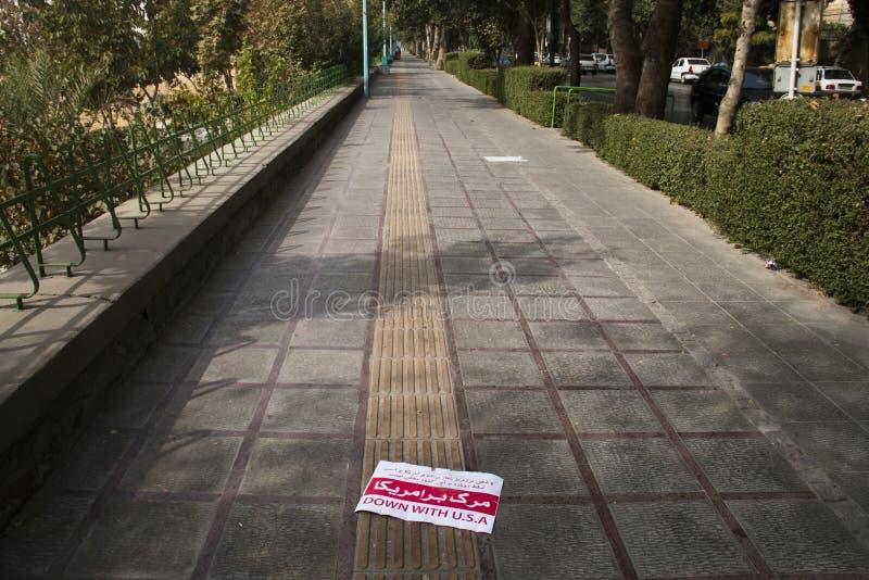 Anti-Amerika-Propaganda in Isfahan, der Iran lizenzfreie stockfotografie