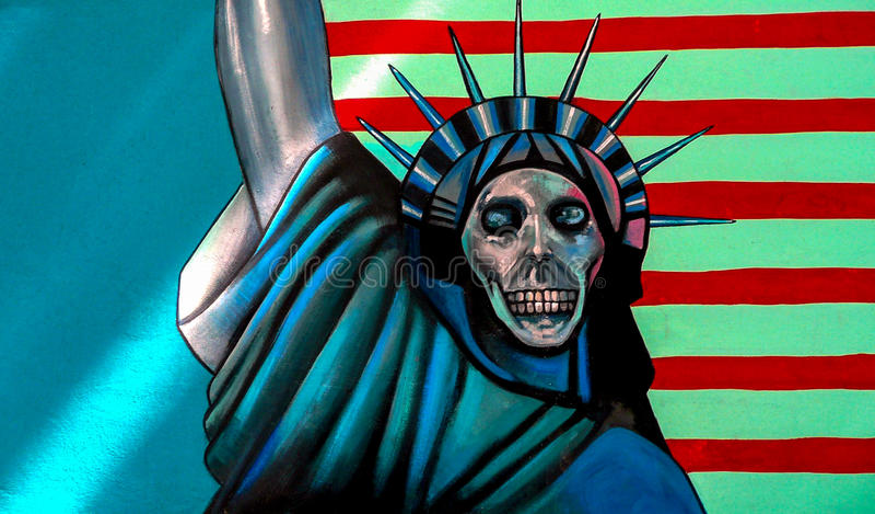 Anti Amerikaanse muurschildering op vroegere de ambassademuur van de V stock fotografie