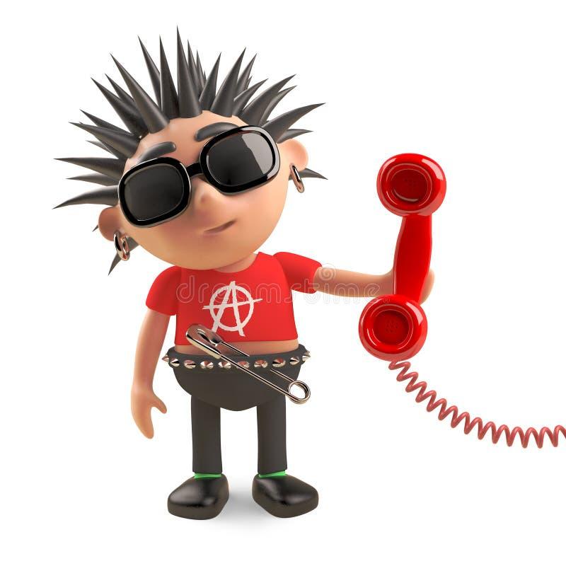 Anti ansrwers sociais do balancim punk o telefone begrudgingly, ilustração 3d ilustração royalty free